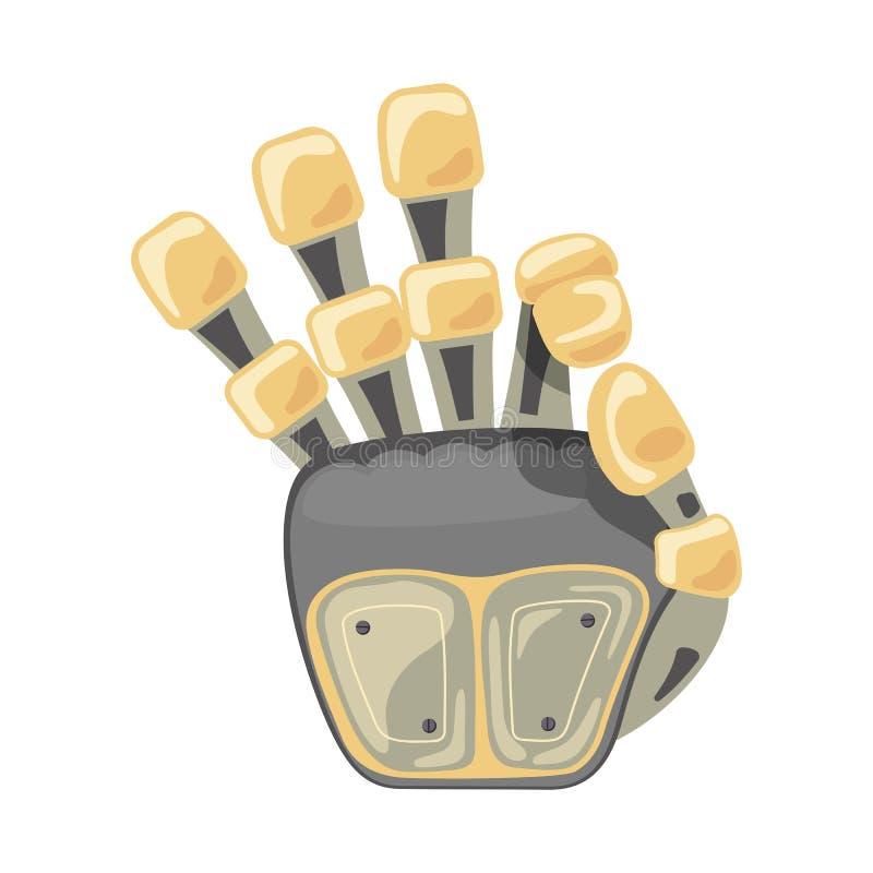 Roboterhand und -schmetterling Mechanisches Technologiemaschinen-Techniksymbol Handgesten O.K. Kühles Zeichen Gutes Zeichen Fried vektor abbildung