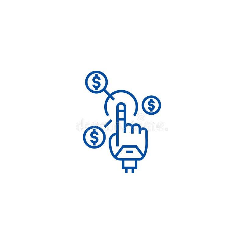 Roboterhand, zukünftige Finanzlinie Ikonenkonzept Roboterhand, zukünftige Finanzflaches Vektorsymbol, Zeichen, Entwurfsillustrati vektor abbildung