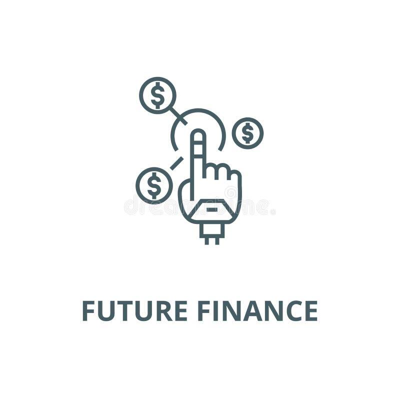 Roboterhand, zukünftige Finanzvektorlinie Ikone, lineares Konzept, Entwurfszeichen, Symbol stock abbildung