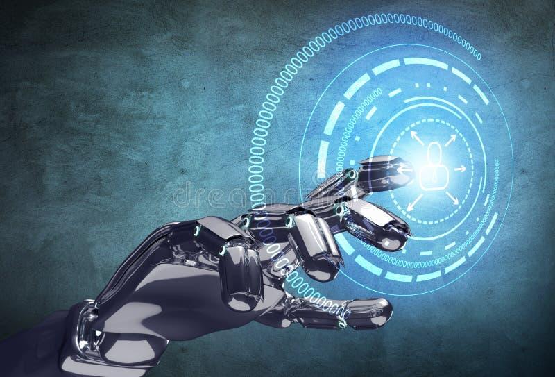 Roboterhandarbeiten mit virtuellem Infographic lizenzfreie abbildung