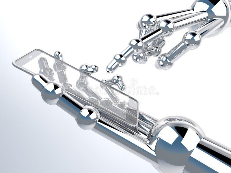 Roboterhandholding und Note auf transparentem Smartphone lizenzfreie stockfotos