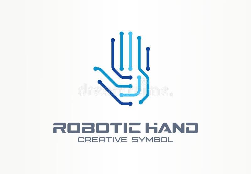Roboterhandkreatives Symbolkonzept Digitaltechnik, abstraktes Geschäftslogo der Internetsicherheit VR-Note, elektronisch lizenzfreie abbildung