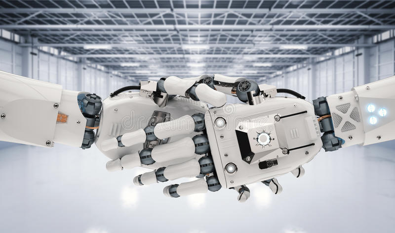 Roboterhandrütteln lizenzfreie abbildung