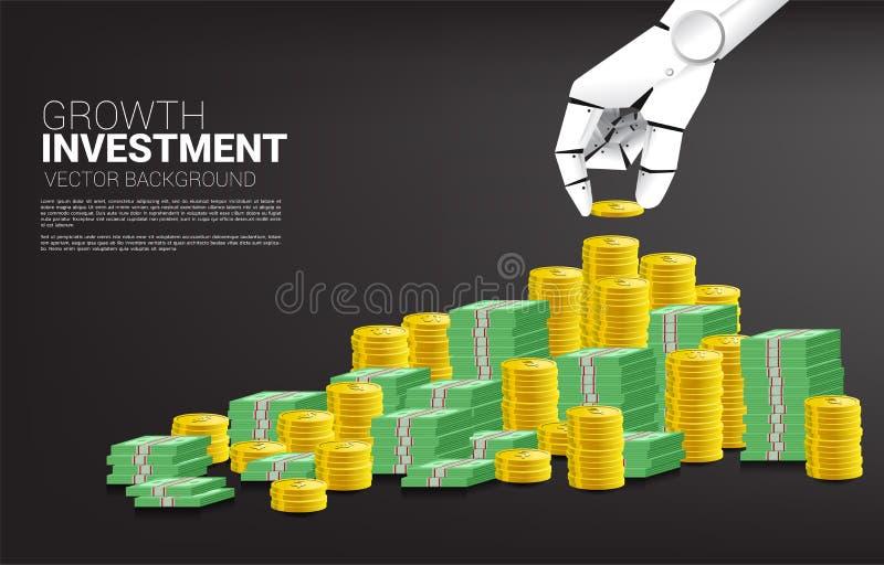 Roboterhandstapelmünze und Banknotengeld lizenzfreie abbildung