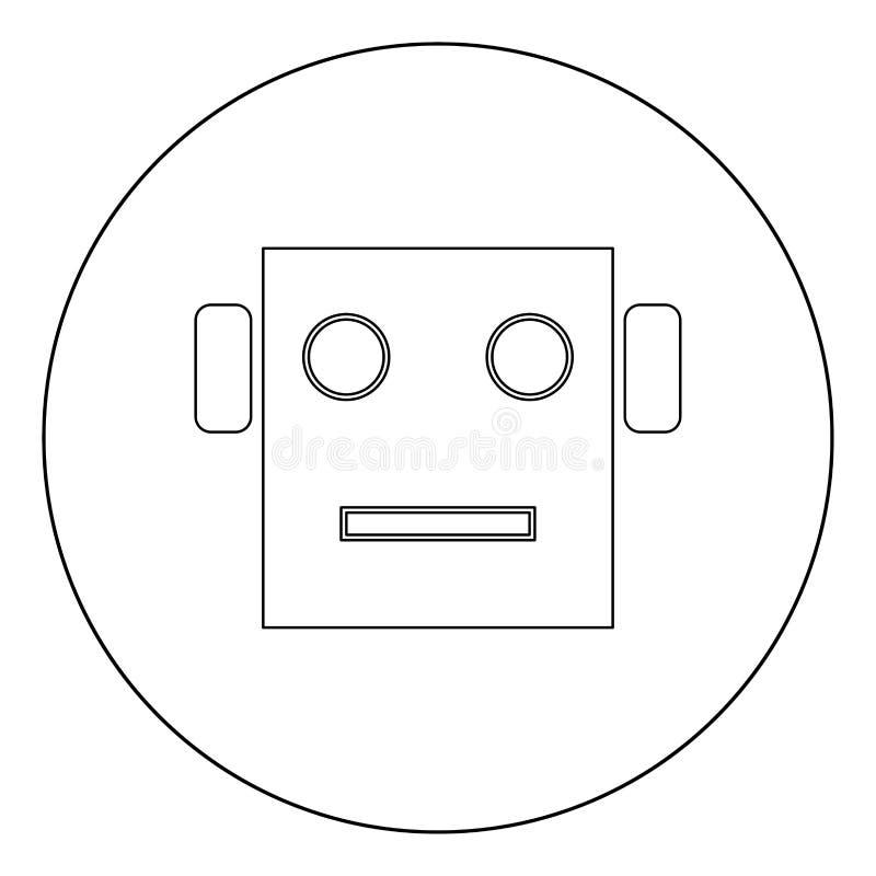 Roboterhauptikonenschwarzfarbe im Kreis vektor abbildung