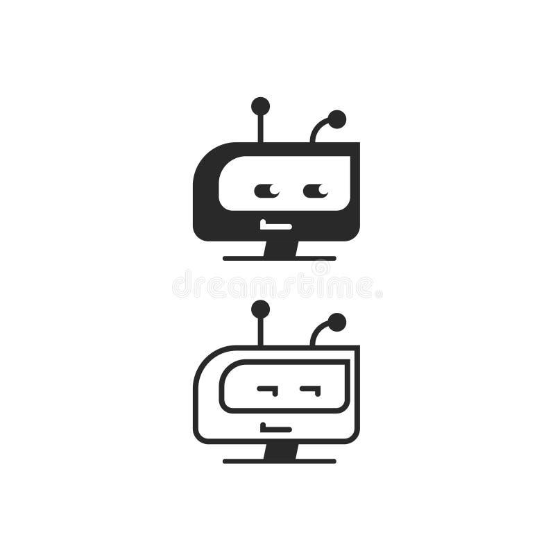 Roboterhauptvektorikone, chatbot Idee oder Botlogo lokalisiert, flache Karikaturschwarzweiss-linie Entwurf lizenzfreie abbildung