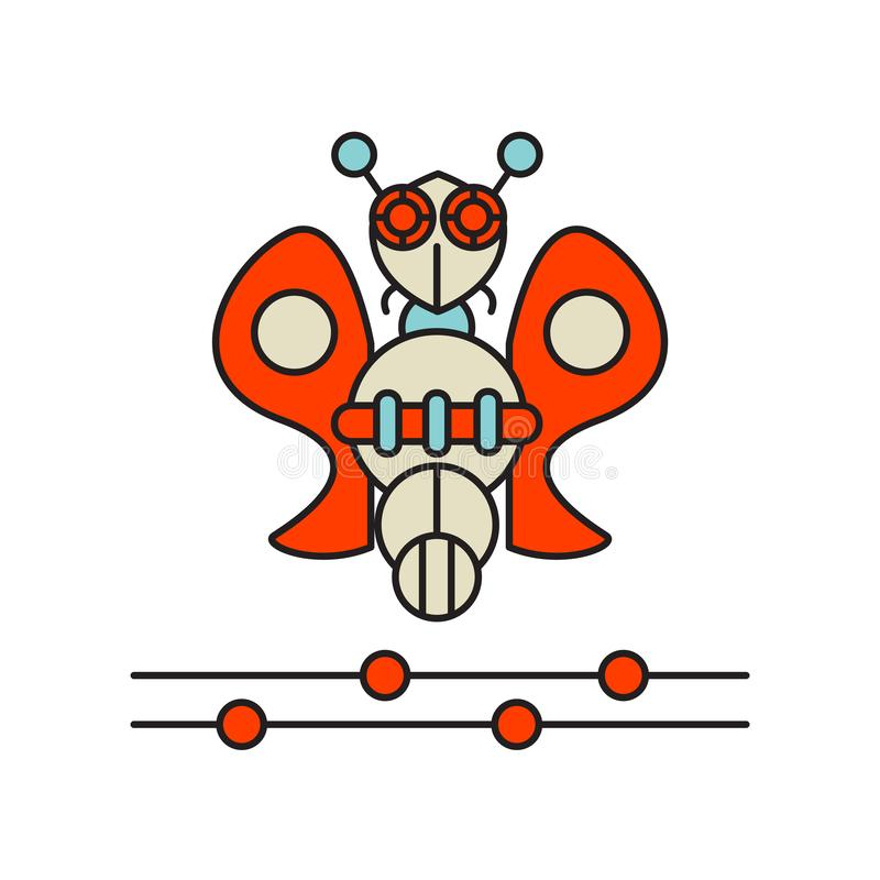 Roboterinsekten-Ikonenvektor lokalisiert auf weißem Hintergrund, Roboterinsektenzeichen, Technologiesymbole lizenzfreie abbildung
