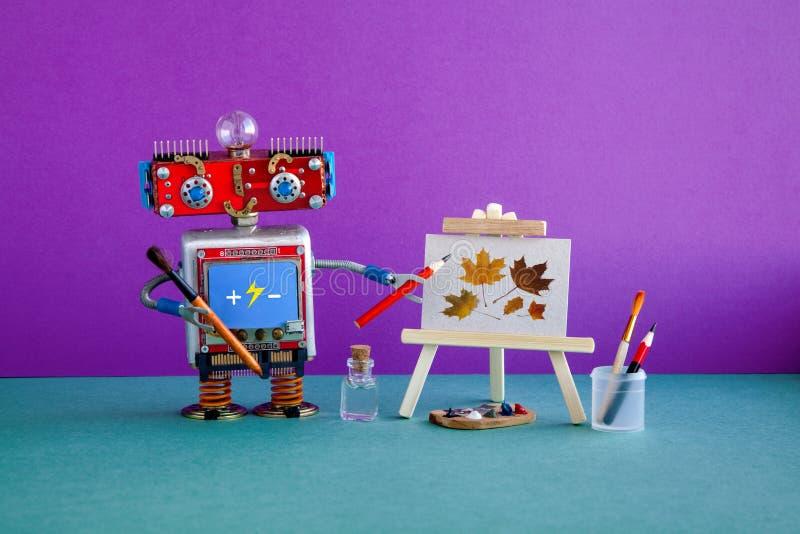 Roboterkünstler-Bleistifthand, hölzerner Gestellstillleben-Grafikherbstlaub Werbungsplakat-Studioschule von bildende Kunst lizenzfreie stockfotografie