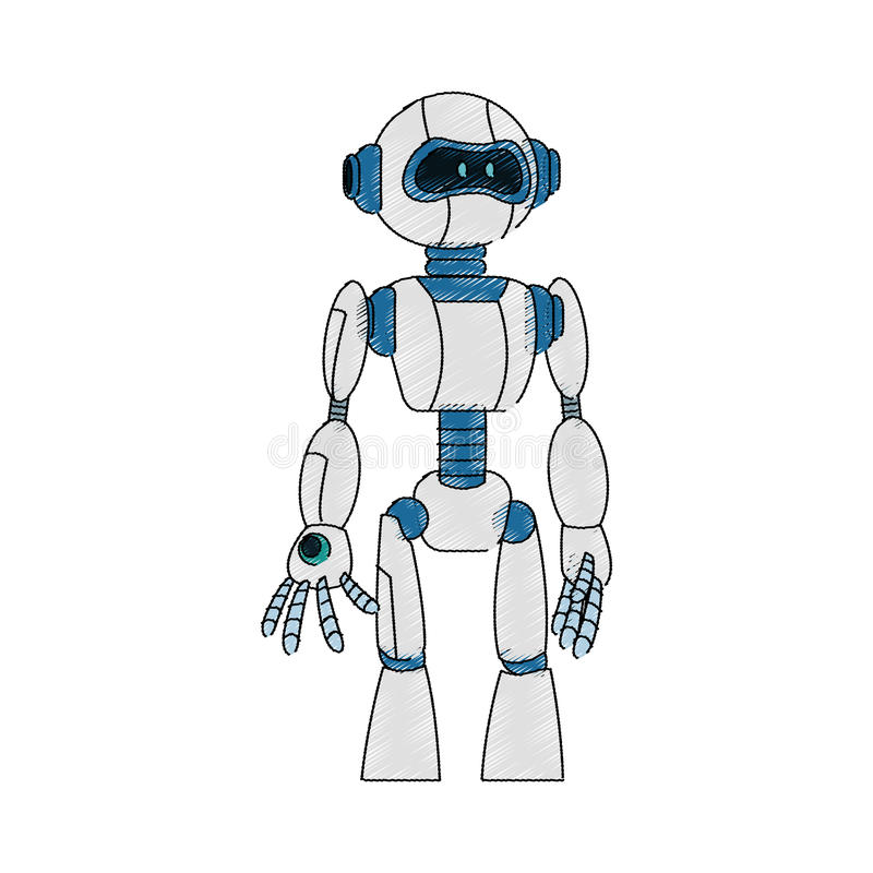 Roboterkarikaturikone lizenzfreie abbildung