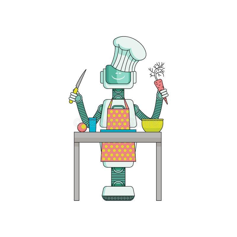 Roboterkoch bereitet Lebensmittel in der Küche zu, die auf weißem Hintergrund lokalisiert wird lizenzfreie abbildung