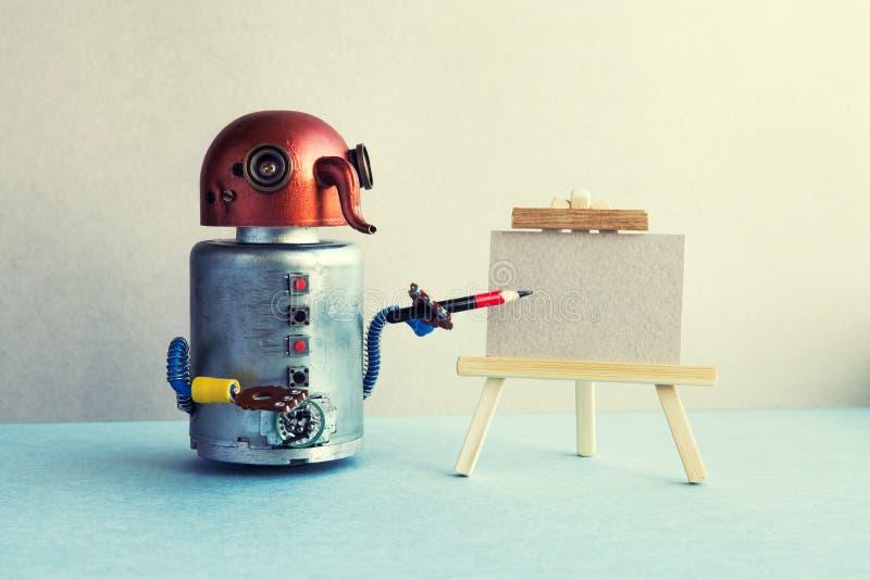 Roboterkonzept der künstlichen Intelligenz Lustiger Roboterkünstler fängt an, eine Zeichnung mit einem Bleistift herzustellen Ste stockbilder