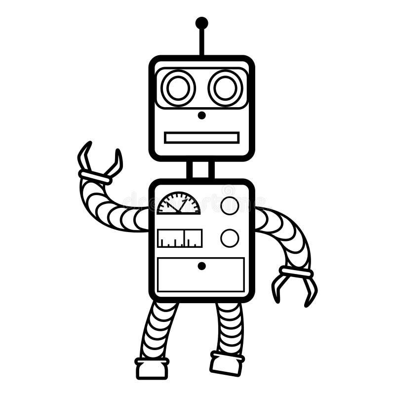 Roboterkonzept flach, Linie Ikone Schwarzweiss lizenzfreie abbildung