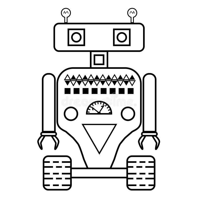 Roboterkonzept flach, Linie Ikone Schwarzweiss stock abbildung