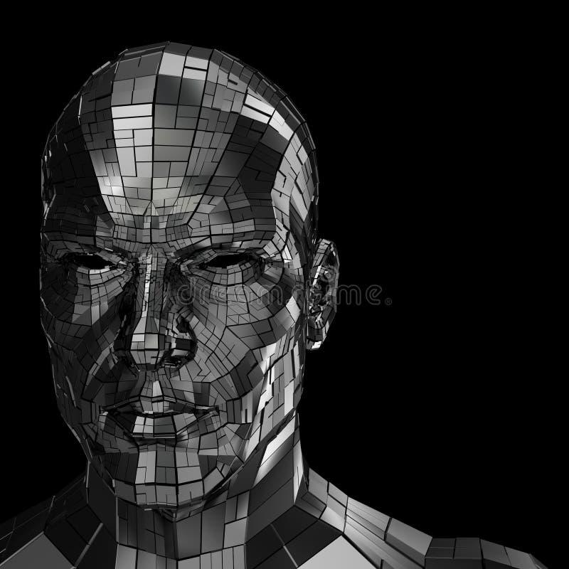 Roboterkopf, der durch die Kamera vorder schaut stockfotos