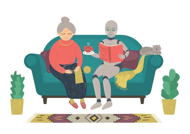 Roboterlesebuch zur älteren Frau, die zu Hause auf Sofa sitzt lizenzfreie abbildung