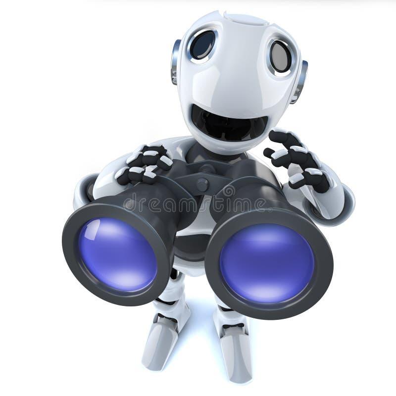 Robotermann der Karikatur 3d, der ein Paar Ferngläser verwendet vektor abbildung