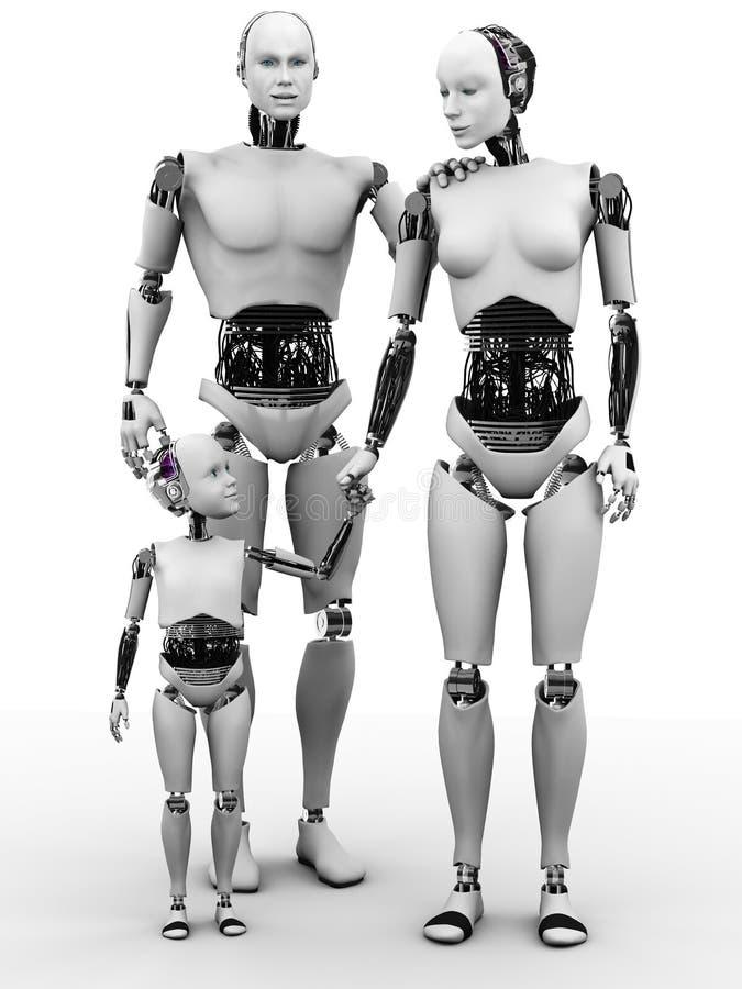 Robotermann, -frau und -kind. lizenzfreie abbildung