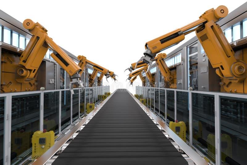 Robotermaschinen mit Förderer stock abbildung