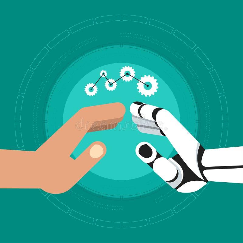 Robotermensch übergibt Teamwork lizenzfreie abbildung