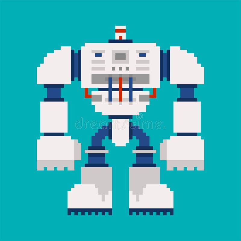 Roboterpixelkunst 8 Bit Cyborgkriegerszukunft Vektor Illustratio stock abbildung