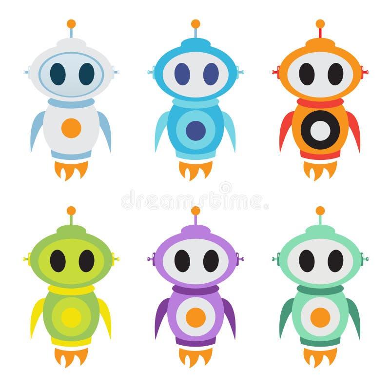 Roboterraketen-Maskottchenlogo Nettes Roboter-Zeichen Auch im corel abgehobenen Betrag vektor abbildung