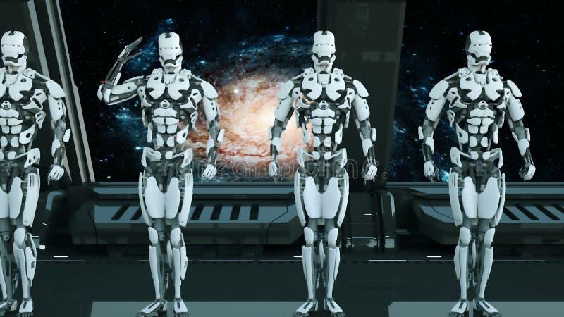 Robotersoldaten auf einem Raumschiff begrüßen vor dem hintergrund des Universums und der Planeten Ein futuristisches Konzept eine lizenzfreie abbildung
