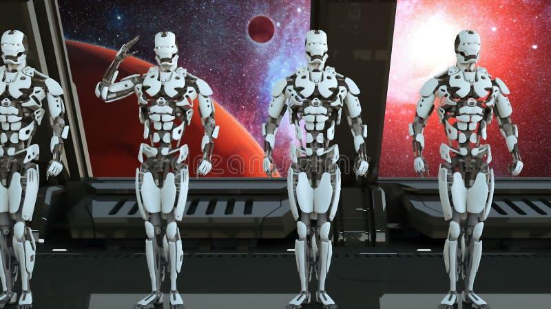 Robotersoldaten auf einem Raumschiff begrüßen vor dem hintergrund des Universums und der Planeten Ein futuristisches Konzept eine stock abbildung