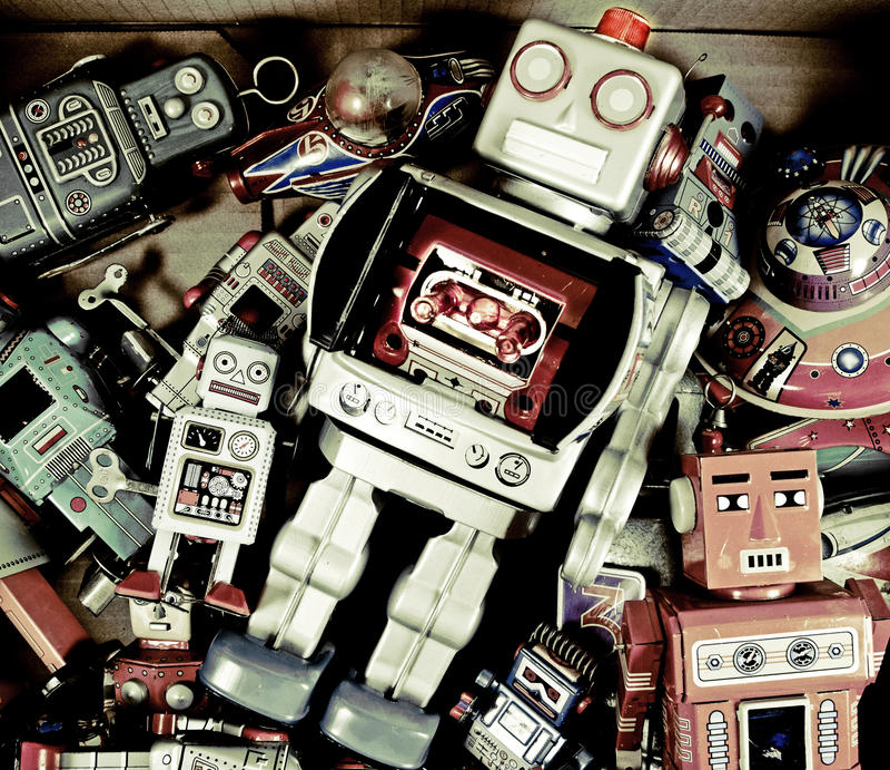 Roboterspielwaren stockfotos