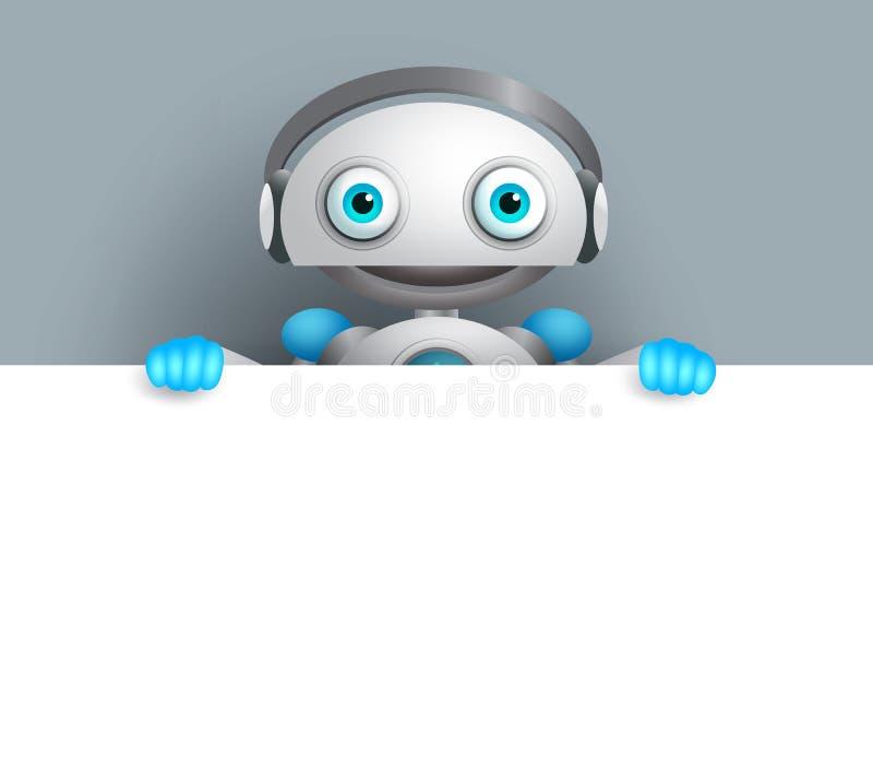 Robotervektorcharakter mit einem freundlichen Lächeln, das leeres weißes Brett hält vektor abbildung