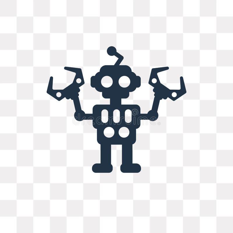 Robotervektorikone lokalisiert auf transparentem Hintergrund, Roboter tra lizenzfreie abbildung
