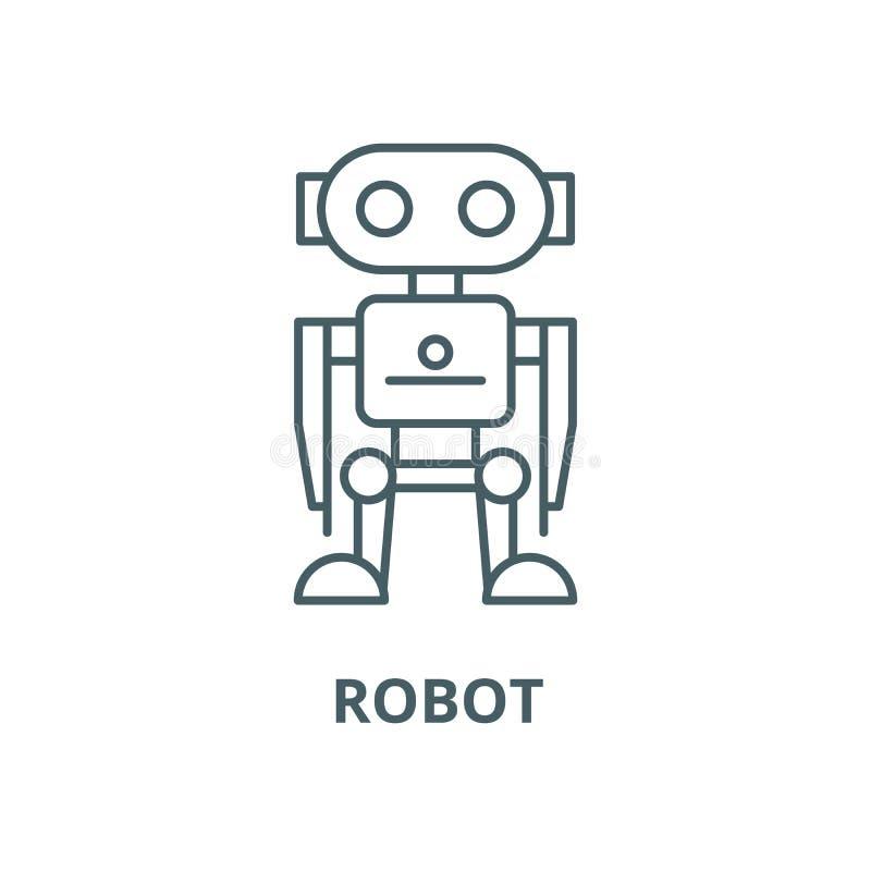 Robotervektorlinie Ikone, lineares Konzept, Entwurfszeichen, Symbol vektor abbildung