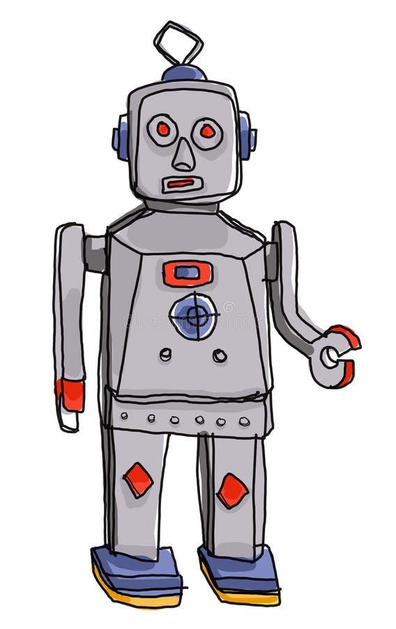 Roboterweinlese scherzt Malerei lizenzfreie abbildung