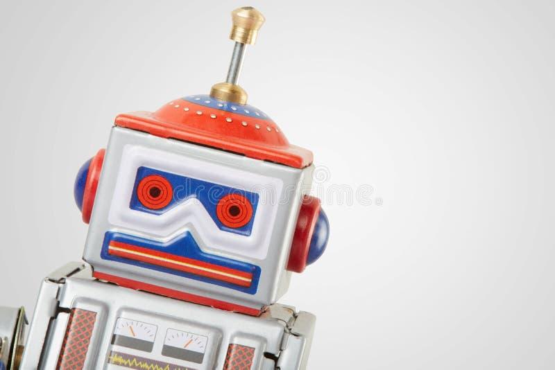 Roboterweinlese-Spielzeugabschluß oben stockbilder