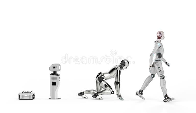 Robotevolution eller teknologievolution royaltyfri illustrationer