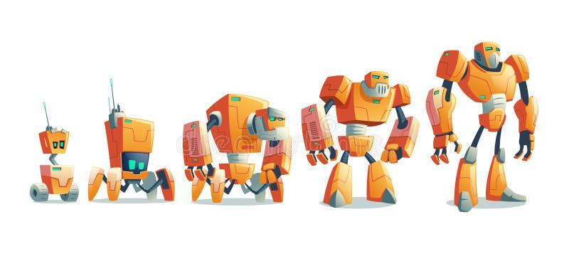 Robotevolutionlinje tecknad filmvektorbegrepp vektor illustrationer