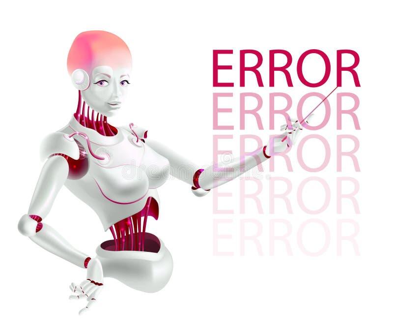 Robotf?rel?saren eller cyborgl?raren indikerar ett fel royaltyfri illustrationer