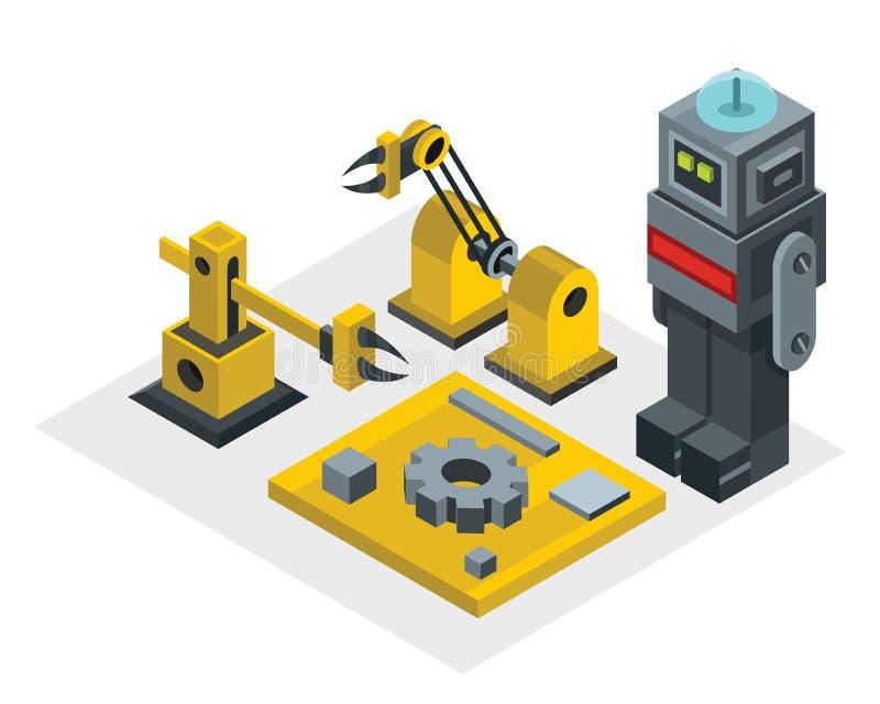 Robotfabrik i isometrisk stil royaltyfri illustrationer