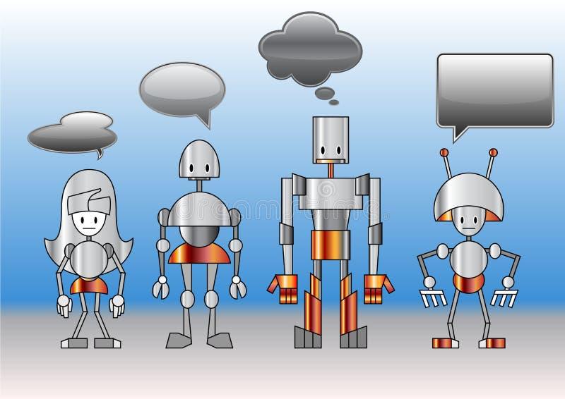Robotfamilj royaltyfri illustrationer