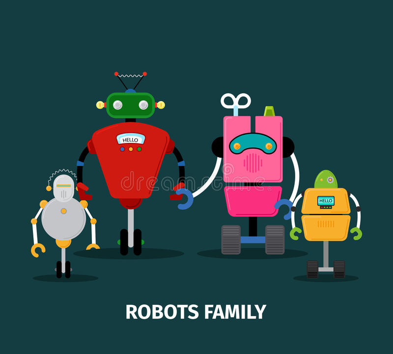 Robotfamilj med ungar royaltyfri illustrationer