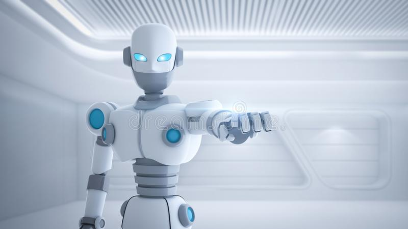 Robotfinger som pekar, konstgjord intelligens i futuristiskt stock illustrationer