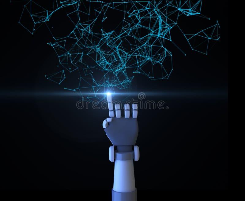 Robotfinger som pekar med digitala data och nätverksanslutning t stock illustrationer