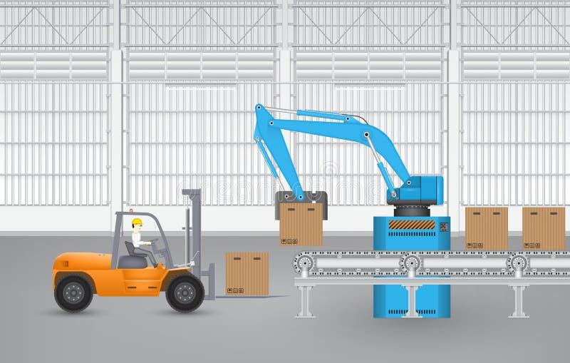Robotgaffeltruck royaltyfri illustrationer