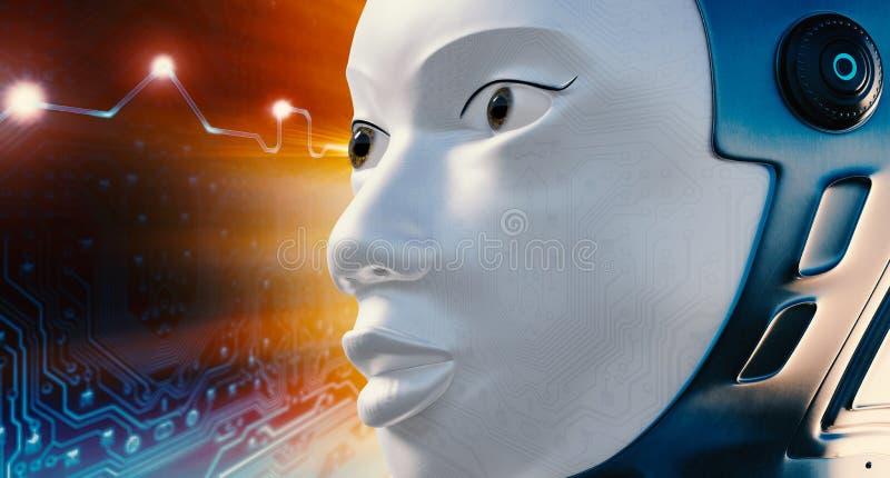 Robotgezicht tegen futuristische achtergrond stock foto's