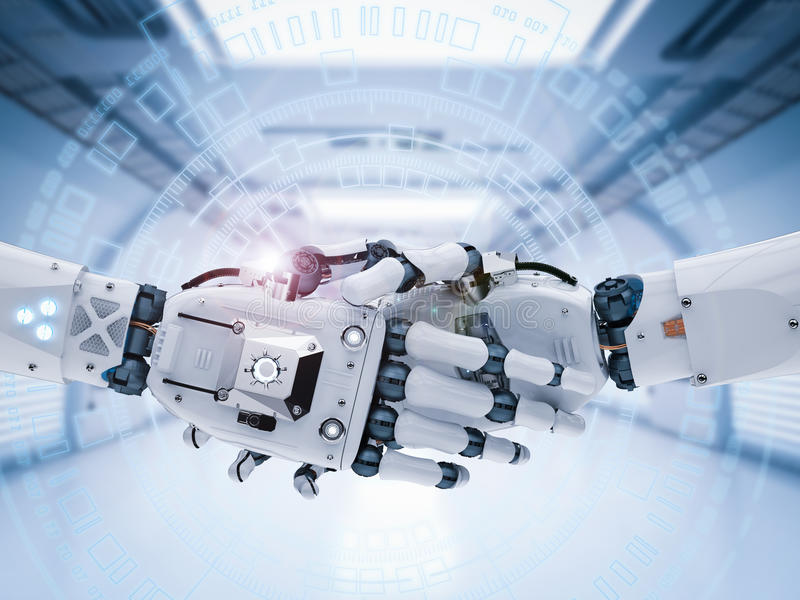 Robothand of cyborg hand het schudden stock illustratie