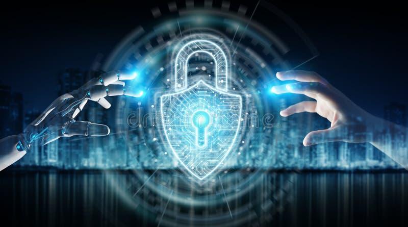 Robothand en menselijke hand wat betreft het digitale hangslotveiligheid 3D teruggeven vector illustratie