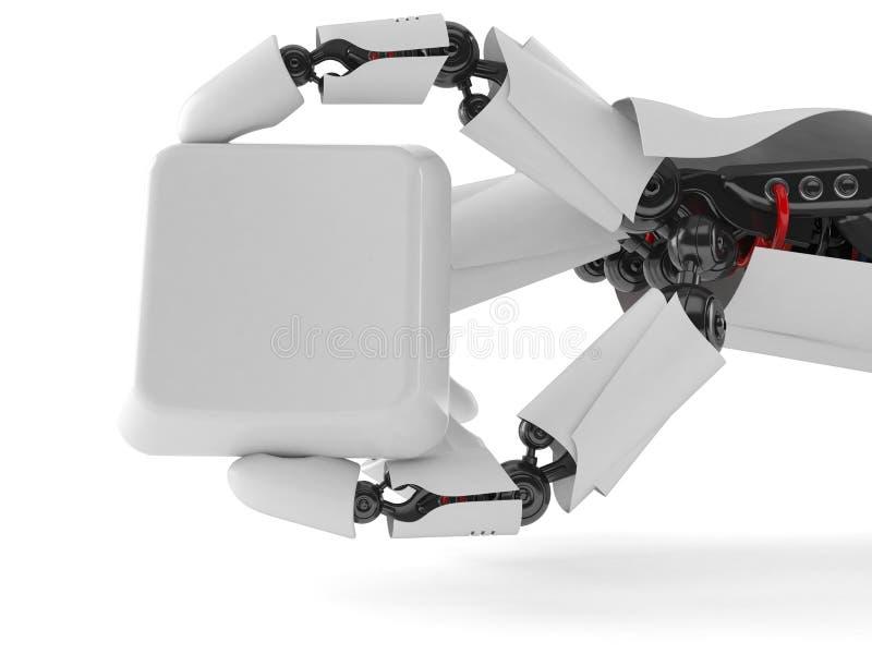 Robothand med tangentbordtangent royaltyfri illustrationer