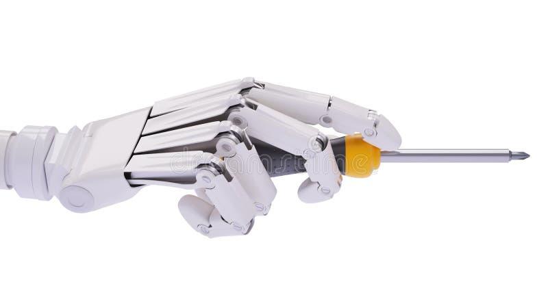 Robothand met schroevedraaier, automatiseringsconcept royalty-vrije stock foto