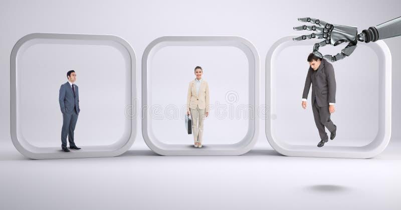 Robothand som väljer på en affärsman med bakgrund med affärsfolk vektor illustrationer