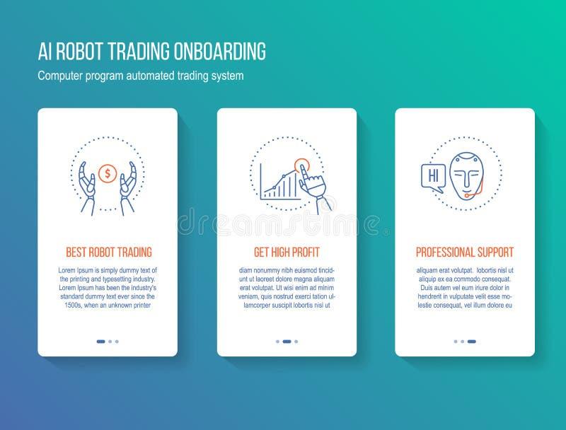 Robothandeln för konstgjord intelligens i aktiemarknaden som onboarding, splashscreen, walkthroughen, cyberbankrörelsekommunikati vektor illustrationer
