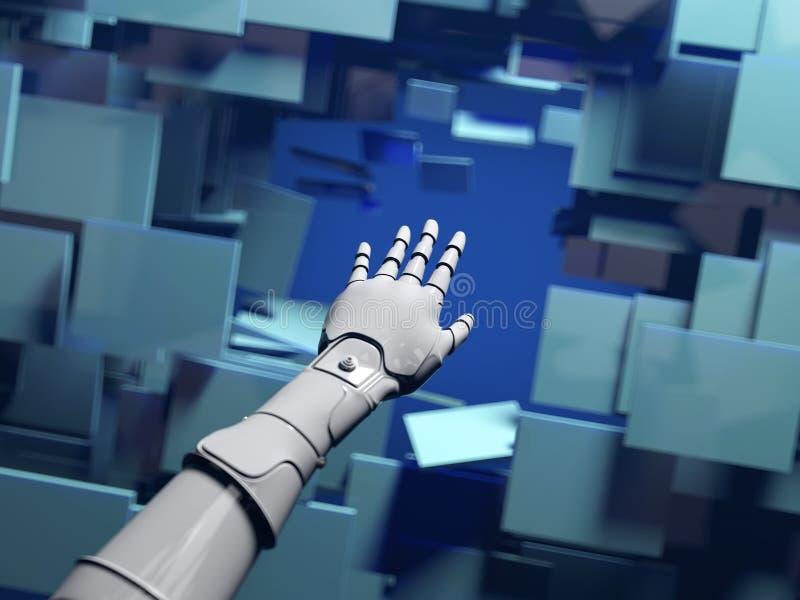 Robothanden passerar till och med en barriär stock illustrationer
